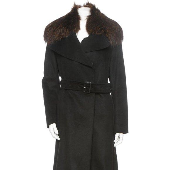 BURBERRY Coat w/ Fur Collar